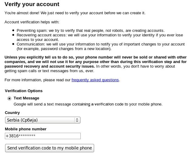 Gmail verifikacija mobilni